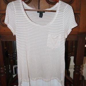 White and tan striped tee